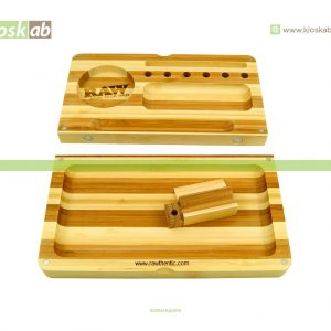 Raw Bamboo Rolling Tray Striped