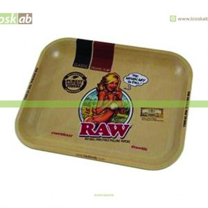 Raw Metal Rolling Tray Girl