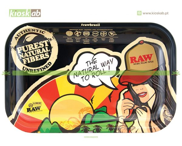 Raw Metal Rolling Tray Brazil Small