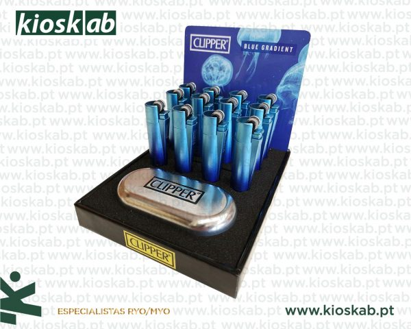 Clipper Isqueiro Micro Metal Blue Gradient