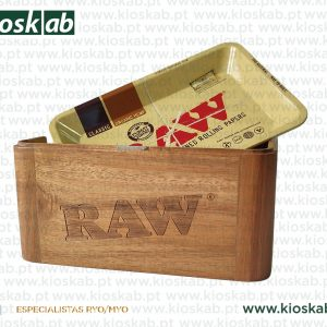 Raw Wooden Cache Box With Tray Mini
